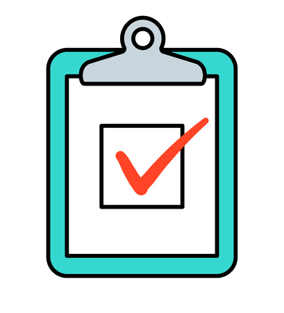 cartoon tick: Checkbox with red check marks on clipboard, vector icon Illustration