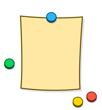 blank note: Blank memo or note with copy space and colorful thumb tacks or magnets pinned onto a white background, cartoon vector illustration