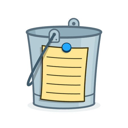 achieve goal: Bucket List cartoon concept with a metal pail and adhering blank list with lines for the addition of your wishes, goal and aspirations to achieve in your lifetime before your death, vector Illustration