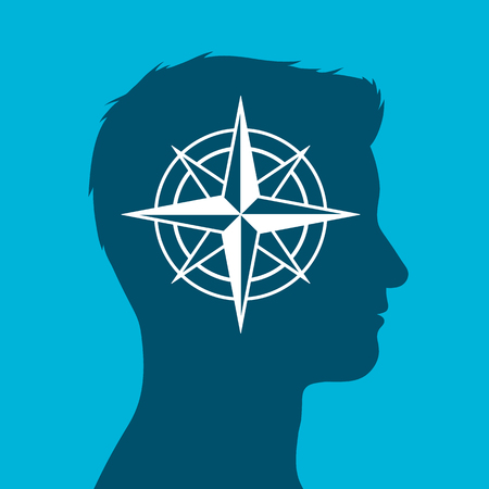 inset: Human head in silhouette with compass rose sign inset against a blue background, vector illustration