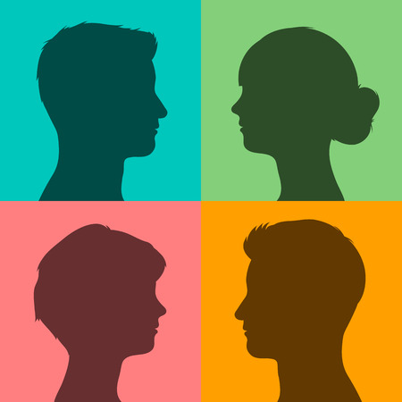 sideways: Four silhouettes of male and female heads in profile on different brightly colored backgrounds, vector illustration for avatars or internet Illustration