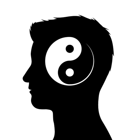 Silhouette of male head with yin yang symbol, vector illustration