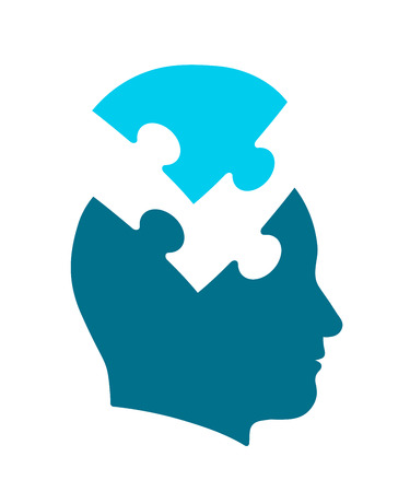 Conceptual icon of psychology and the mind illustrating a human head with jigsaw puzzle piece taken out, vector illustration Vetores