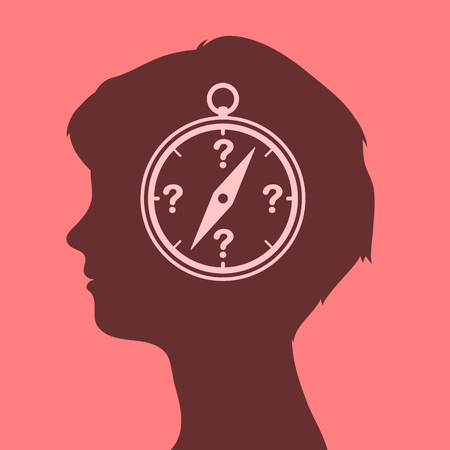 discovery: Woman head with compass icon and question marks for orientation, vector illustration