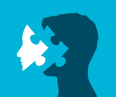 Conceptual rendering of a head with puzzle piece in place of a face against a blue background, vector illustration Illustration