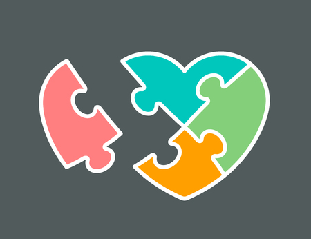 Conceptual icon of heart shaped jigsaw puzzle colored orange, pink, green and aqua, vector illustration