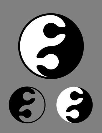 interlocked: Creative black and white Yin Yang symbol of interlocked jigsaw puzzle pieces conceptual of harmony, zen, meditation, opposites in Chinese philosophy, vector illustration in three different variants
