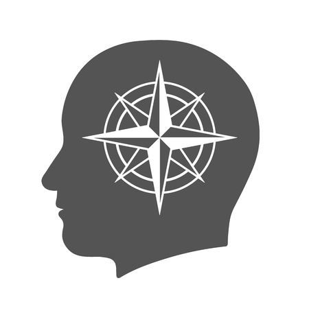 innate: Head icon with compass rose sign in silhouette, vector illustration
