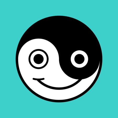 Black and white yin and yang symbol smiley face on aqua background, vector illustration