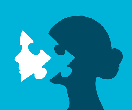 Young woman head with puzzle piece in place of a face against a blue background, vector illustration