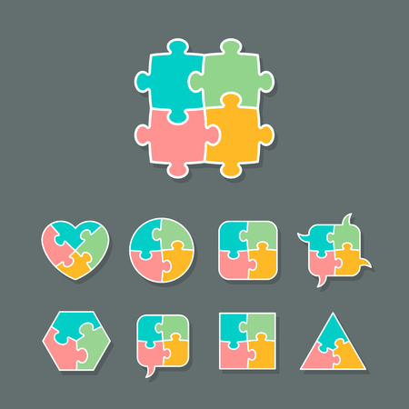Set of different shapes made of jigsaw puzzle pieces, design elements for your logo or icon, vector illustration Stock Illustratie