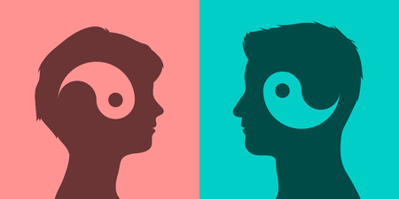 interdependent: Yin and yang symbols in man and woman head dark silhouettes on pink and cyan background, communication concept, vector illustration