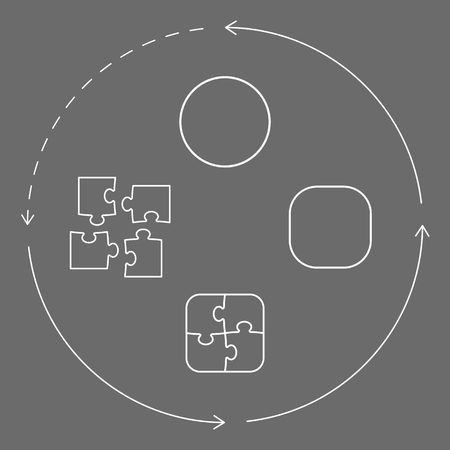 Vector illustration with puzzle pieces, shapes and arrows symbolizing problem-solving cycle, from pieces to wholeness unity. White figures over grey background. Vector illustration