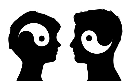 relationships: Yin yang symbols in man and woman head silhouettes, relationship concept, vector illustration Illustration
