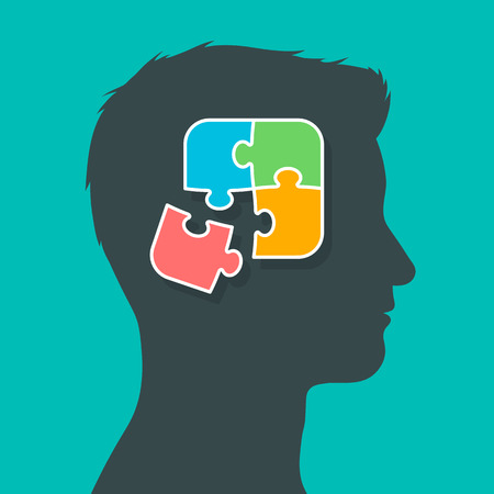wisdom: Silhouette of man head profile putting the puzzle pieces together, thoughts in brain concept, vector illustration