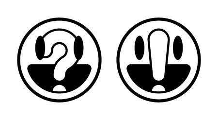 Deux ronds smiley noir et blanc fait face avec interrogation et point d'exclamation, illustration vectorielle