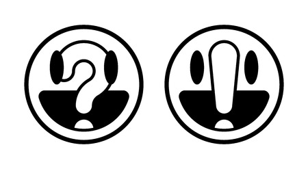 Two black and white round smiley faces with question mark and exclamation point, vector illustration Illustration