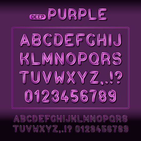 Modern display alphabet and numbers font family collection with embossed deep purple letter signs