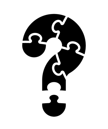 Question mark from jigsaw puzzle pieces, isolated vector illustration on white background