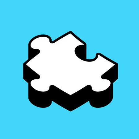 Cartoon puzzle 3d piece isolated on blue background, vector icon Illustration