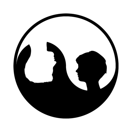 Round yin yang symbol with woman and man profiles inside, vector illustration