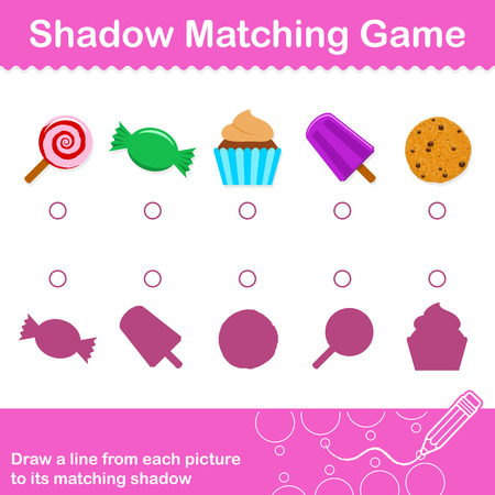 Fun colorful Candy Match The Shadow Game for kids with five assorted cartoon candies and cookies with corresponding silhouette shadows, isolated vector eps8 illustration Illustration