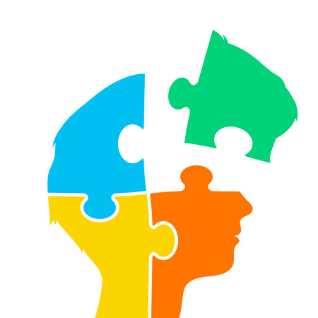 Head of a woman made of four brightly colored jigsaw puzzle pieces with one set to the side in a concept of intelligence, problem solving, teamwork, creativity and inspiration, vector illustration Çizim