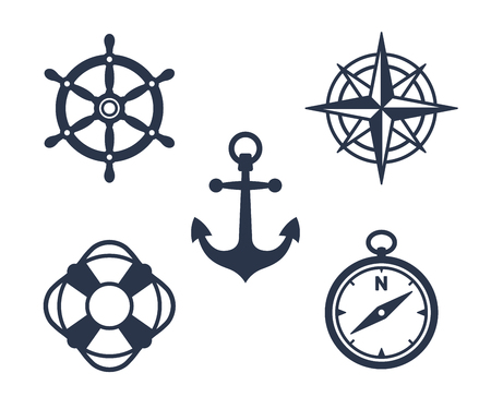 Set of marine, maritime or nautical icons with an anchor, buoy, life ring, compass, compass rose and ships steering wheel isolated on white