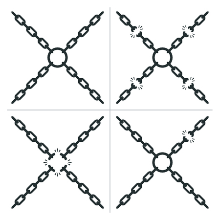 Four chains with breaks in the links joined by a center ring with four different variations, one without any breaks, in a safety and security or freedom concept, vector illustration Ilustração