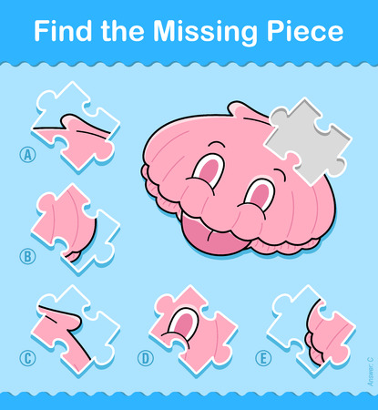 Kids entertaining game with a pink sea shell missing jigsaw puzzle piece in a vector illustration of marine life