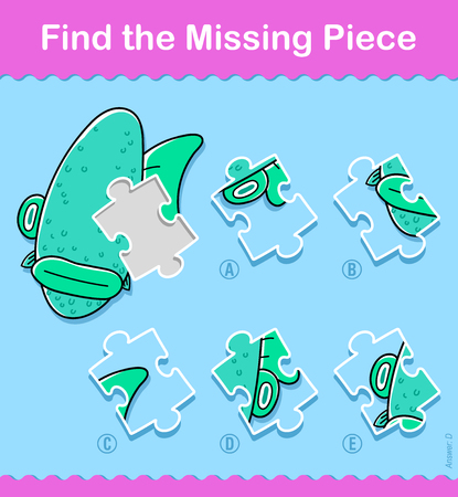 Kids simple little green cartoon fish Find The Correct Piece educational puzzle swimming underwater with one missing piece and five variations to choose from to solve the riddle, vector illustration Illustration