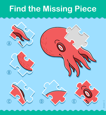 Find the missing part kids educational jigsaw puzzle game with a colorful red octopus swimming underwater, vector illustration