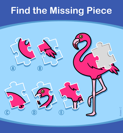 Find The Missing Piece educational puzzle for little kids with a colorful pink cartoon flamingo and five choices of pieces to complete the picture suitable for kindergarten, vector illustration Illustration