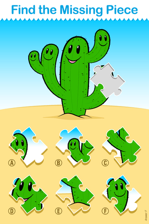 Kids easy cartoon cactus Find the Missing Piece Puzzle with a cute happy green desert cactus with smiling faces and a missing jigsaw puzzle piece over one arm with a choice of six to match up below Illustration