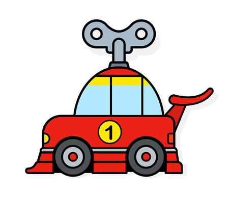 Spring toy racing car with wind up key for children or to depict eco friendly transportation - vector illustration  イラスト・ベクター素材