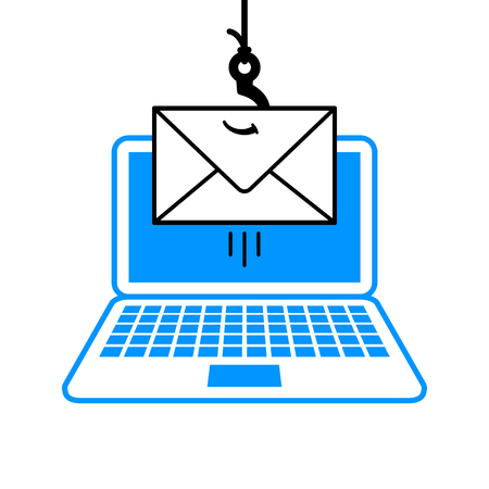 Cartoon fishing line, hook and envelope in a phishing scam concept dangling over an open laptop computer conceptual of the online fraudulent theft of personal information or identity by mail - vector
