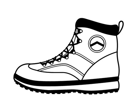 Side view of a sturdy vector hiking boot with a durable rubber sole and laces for hiking, trekking, mountain climbing and backpacking for the adventure enthusiast isolated on white background.  イラスト・ベクター素材