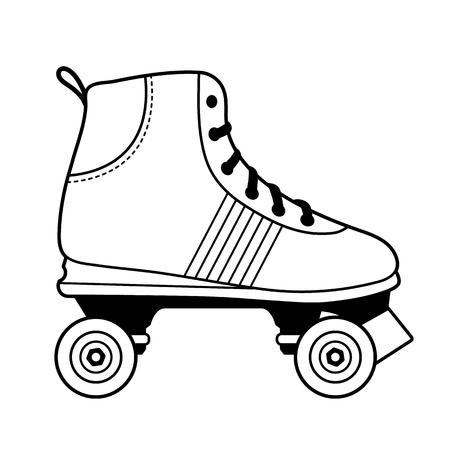 Ilustración vectorial de un zapato de patinaje sobre ruedas blanco y negro aislado sobre fondo blanco. Ilustración de vector
