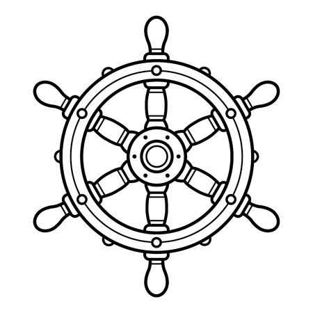 Vintage boat steering wheel or rudder - vector illustration