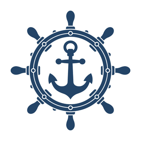 Ship steering wheel and anchor navigation emblem or logo isolated on white background - vector illustration