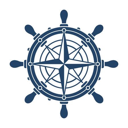 Schipstuurwiel en kompasroos navigatiesymbool of embleem op witte achtergrond wordt geïsoleerd - vectorillustratie die Vector Illustratie