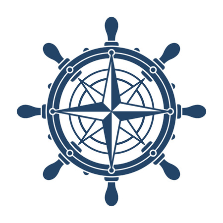 Ship steering wheel and compass rose navigation symbol or logo isolated on white background - vector illustration Vettoriali