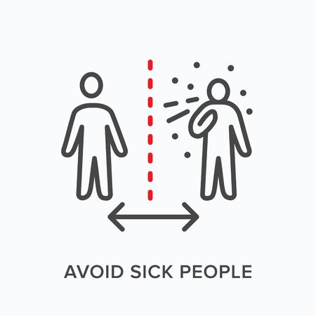 Social distance line icon. Vector outline illustration of sneezing man. Avoid sick people sign, pictorgam for coronavirus prevention, self isolation symbol