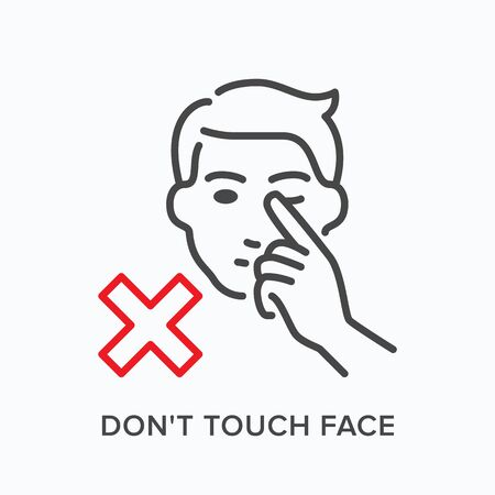 Touching face line icon. Vector outline illustration tacking hands away from head. Warning hygiene in pandemic pictorgam for illness prevention