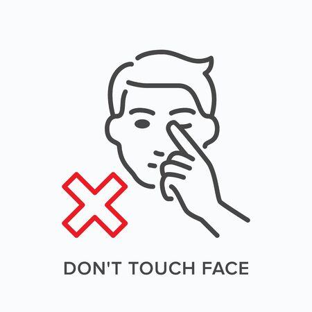 Berühren des Gesichtsliniensymbols. Vektorentwurfsillustration, die Hände weg vom Kopf heftet. Warnhygiene im Pandemie-Piktorgam zur Krankheitsprävention