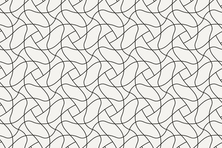 Geometric seamless pattern. Vector background with abstract line texture. Neutral monochrome wallpaper, black white simple light linear ornament for wrapping paper, textile. Decorative design element