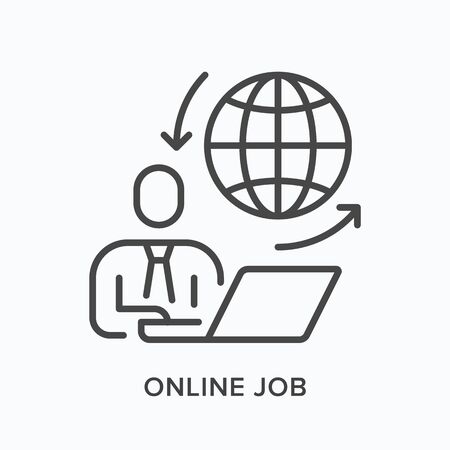 Online work line icon. Vector outline illustration distant working. Internet employment Vektorgrafik