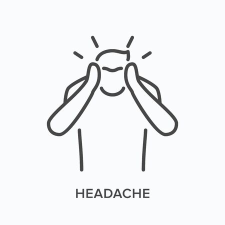 Man with headache line icon. Vector outline illustration of suffering human with hands on head . Sick person with migraine