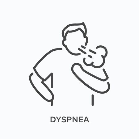 Cothing man line icon. Vector outline illustration person with lung problems . Astma patient Vecteurs