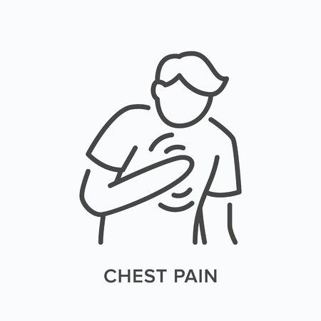 Heartbrake line icon. Vector outline illustration showing person with pain in the chest. Image illustrate heartburn
